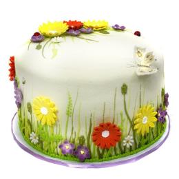 Торты на заказ Детский торт с полевыми цветами и бабочкой