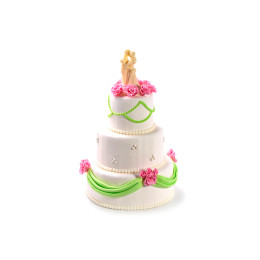 Wedding cake in three tiers with soft pink roses and figures