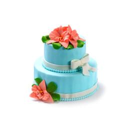 Торт праздничный голубой в два яруса с розами