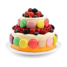 Детский торт в два яруса со свежими ягодами и макарони