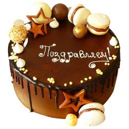 Праздничный торт в шоколадной глазури с макаронии звездочками