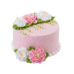 Торт праздничный без мастики с цветами из крема