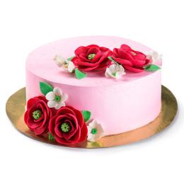 Торт праздничный без мастики с алыми розами и белыми цветочками