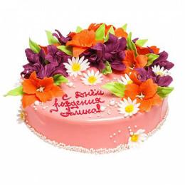 Торт праздничный на день рождение с разнообразными цветами из мастики