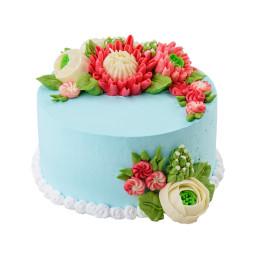 Торт праздничный без мастики с разнообразными цветами