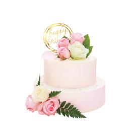 Торт праздничный нежно розового цвета в два яруса с бутонами роз