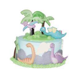 Детский торт с аппликациями динозавров и пальм