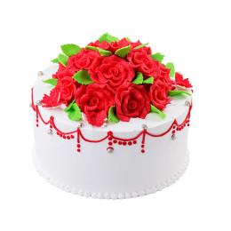 Торт праздничный в один ярус с алыми розами
