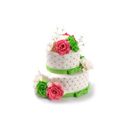 Wedding cake in two tiers with colorful rose buds and ribbons on the tiers