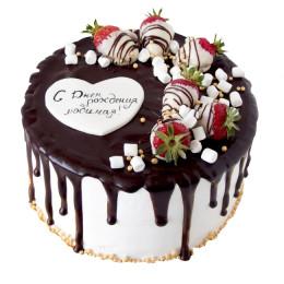 Торт праздничный клубникой в шоколаде и маршмеллоу