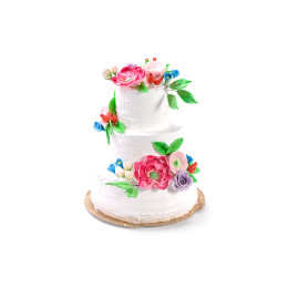 Wedding cake in three tiers without mastic with flower buds