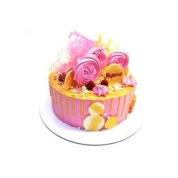 Children's cake for girls in yellow and pink