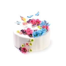 Торт праздничный с небольшими цветами и бабочками