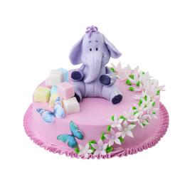 Детский торт со слоном и мелкими цветочками