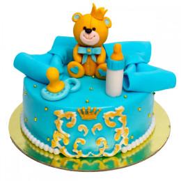 Детский торт с фигуркой медвежонка и бутылочкой