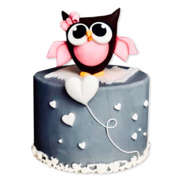 Детский торт с совой и сердечками