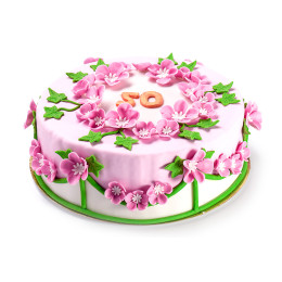 Торт праздничный на юбилей с цветочками