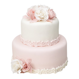 Wedding cake in two tiers with rose buds and wedding rings