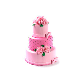 Wedding cake in three tiers of pink shade with rosebuds