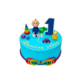 Детский торт с фигуркой мальчика, неваляшки и машинки