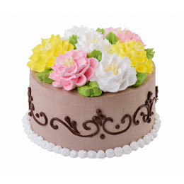 Торт праздничный с кремовыми розами и узорами по бокам