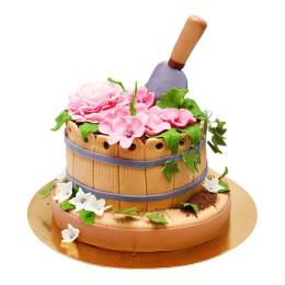 Торт для огородника в форме грядки с цветами