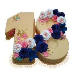 Торт в форме цифры 18 на совершеннолетие