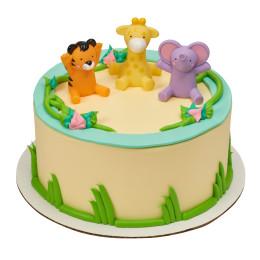 Торт детский в один ярус с фигурками тигренка жирафа и слоненка
