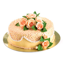 A festive cake for an anniversary or wedding with the colors of peach-coloured roses