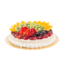 Cake festive in one tier, covered with white cream decorated with orange slices, kiwi, strawberries, grapes