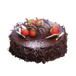 Cake festive in one tier covered with dark chocolate and decorated with fresh strawberries
