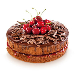 A festive cake in a single tier is decorated with fresh cherries