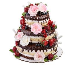 Торт в три яруса украшенный свежими ягодами клубники, голубики, смородины также цветами роз из мастики