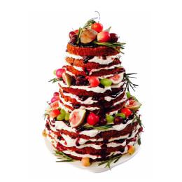 Открытый праздничный торт в три яруса из фруктового ассорти