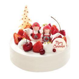 Cake for the New year decorated with berries and figures with children