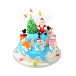 Cake for the new year with Santa Claus and snowmen