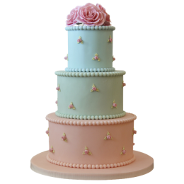 Wedding cake pink and blue with small roses on the sides