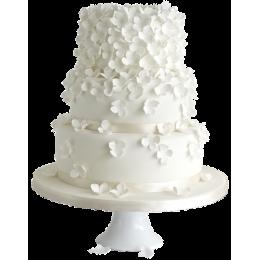 Wedding cake snow white with white flowers