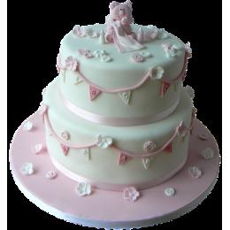 Детский торт розовый с розовым мишкой