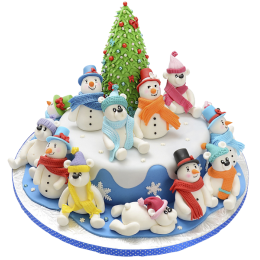 New year cake with 12 snowmen