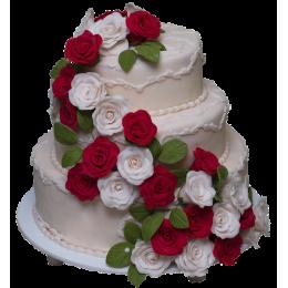 Белый свадебный торт с множеством белых и алыхроз