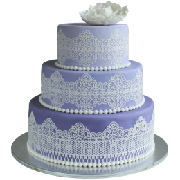 Purple wedding cake with white patterns and white flower on top