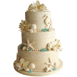 Wedding cake milk color, decorated with sea stars, shells and flowers