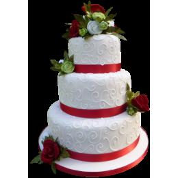 Белый трехъярусный свадебный торт с алыми лентами и розами