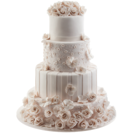 Свадебный торт четырехъярусный с множеством цветов