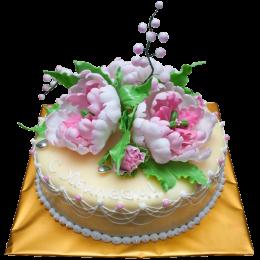 Торт классический с цветами пиона