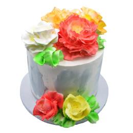 Торт праздничный без мастики с цветами роз и пионов