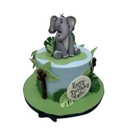Торт Детский в один ярус с фигуркой слона и пальмой