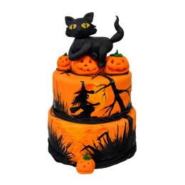 Двухъярусный торт на Хэллоуин с фигуркой черной кошки (Halloween)