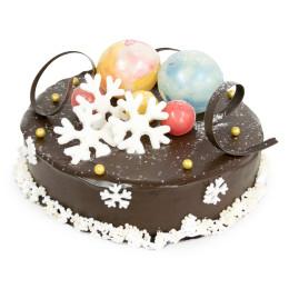 Торт на Новый год темного цвета со снежинками